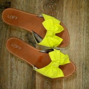 Loft bow simple pleather cloth slide sandals